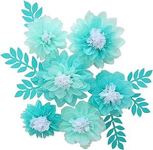 Mybbshower Tissue Paper Flowers with Leaf Set of 8 for Wedding Backdrop Bridal Shower Wedding Centerpieces Nursery Wall Decor (Mint Teal)