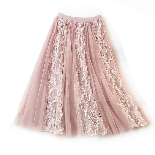 GS-Store Falda de Tul con Encaje de Jacquard de Color Liso con ...