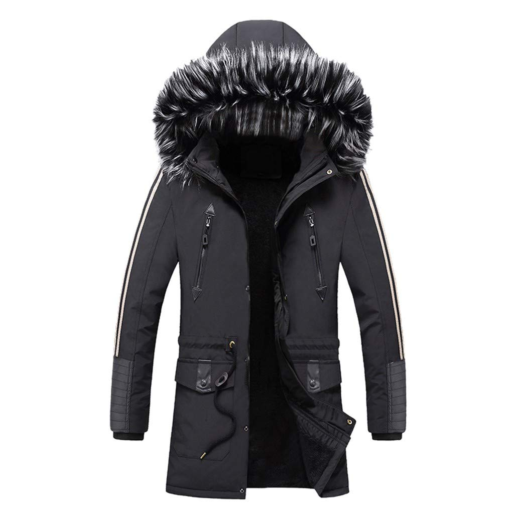 Tomcia Coat Plush Hoodie Winter Ajustable Waist Patchwork Solid Pocket Zipper Long Sleeve Mid-Length Outwear (XXXL, Black) by gsb-FFuxk