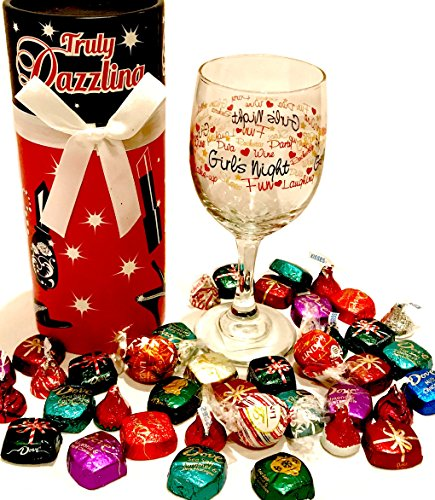 Wine Gifts! Wine Glass - WITH Candy Treats and Wine Glass Case - Gift For Adults! For Birthday, Christmas, Valentines, Easter, Thinking of You, and More! (Girls Night)
