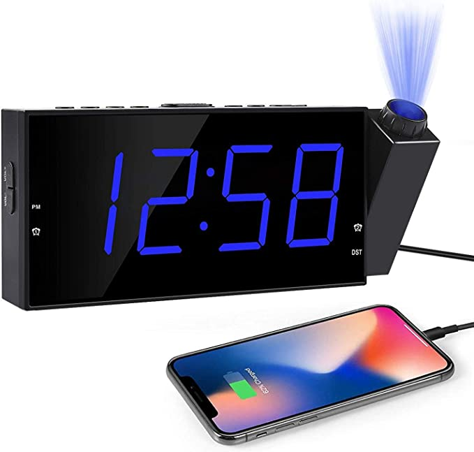 Kitchen USB Charging 7 LED Digital Desk//Shelf Clock with Dimmer AC Powered and Battery Backup for Bedroom Kids OnLyee Projection Ceiling Wall Clock with Bed Shaker