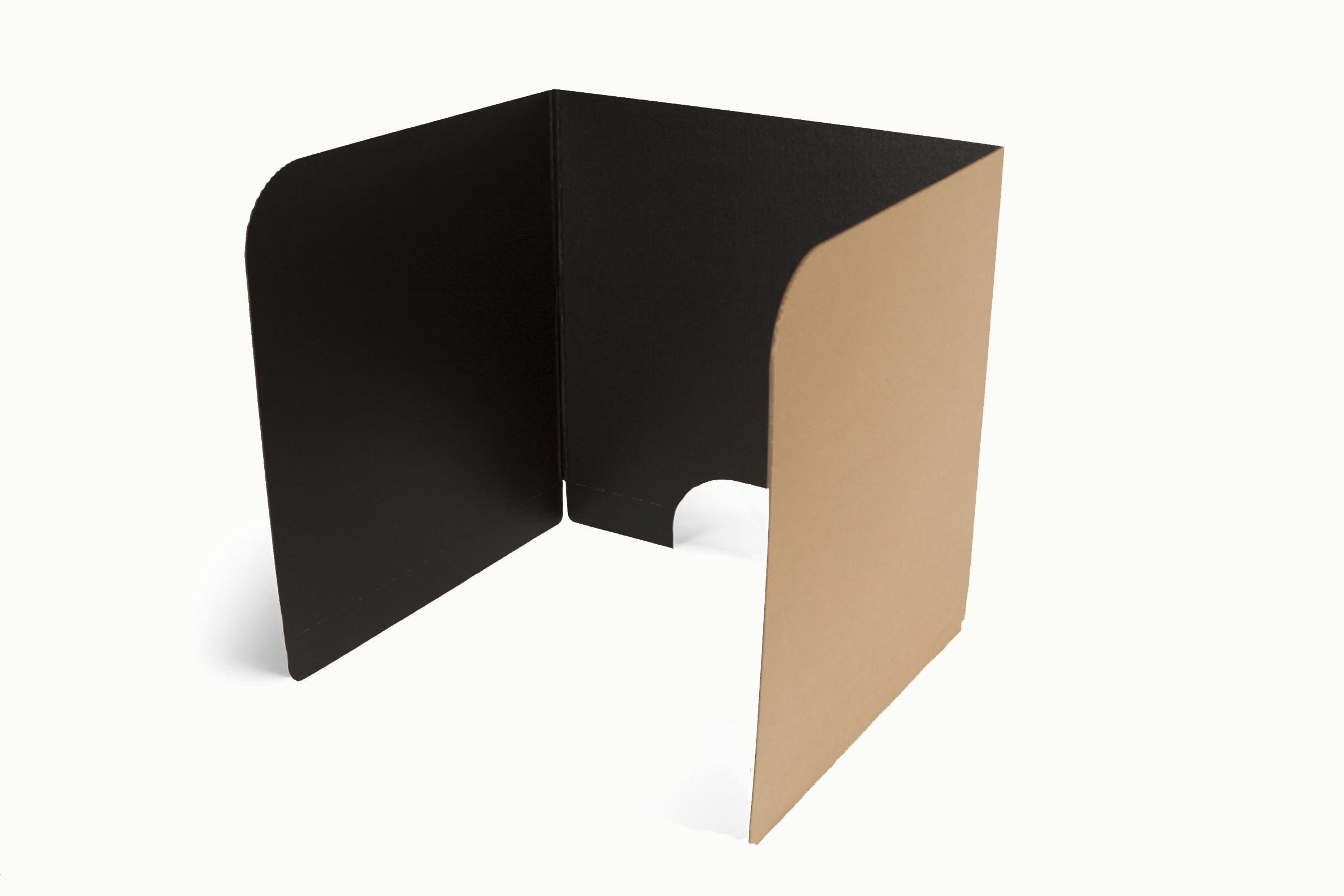 Classroom Products Voting Booth 20 Inch Tall Corrugated Cardboard Portable - Black - (Pack of 10)