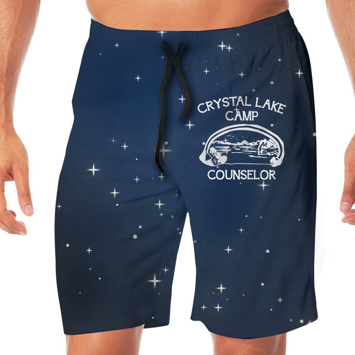 Camp Crystal Lake Mens Classic Swim Beach Shorts with Pockets