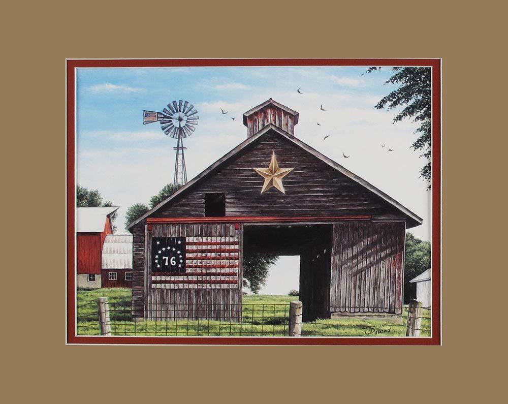 Matted Terry Downs Studio American Flag Wall Decor Art Print Spirit 76 Barn Scene Art Print
