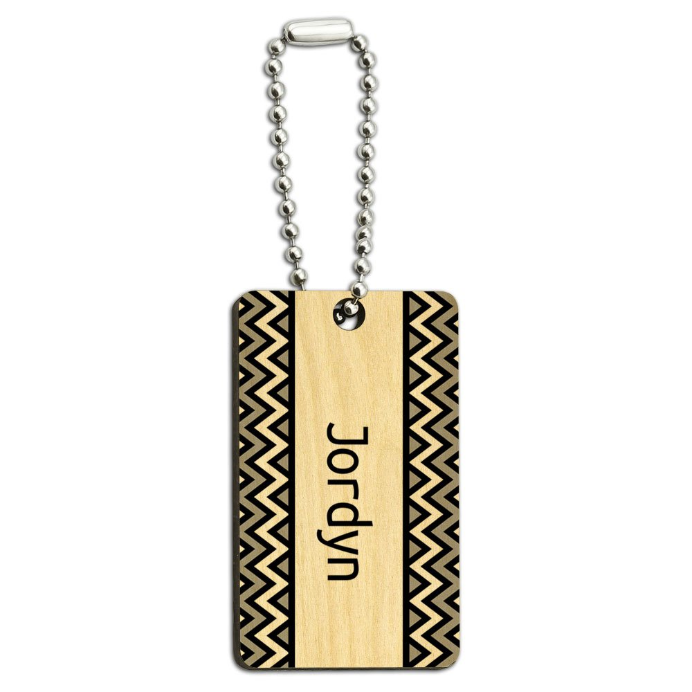 Jordyn Black and Grey Chevrons Wood Wooden Rectangle Key Chain
