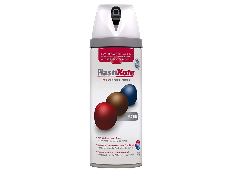 24048a1c82 Plasti-kote 22101 400ml Premium Spray Paint Satin - White: Amazon.co.uk:  DIY & Tools