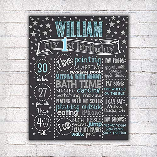 Dozili Personalized Twinkle First Birthday Chalkboard Style Metal Sign - Printable 1st Birthday Chalkboard Style Metal Sign, Little Star, Boy Blue Silver Personalized Custom Sign