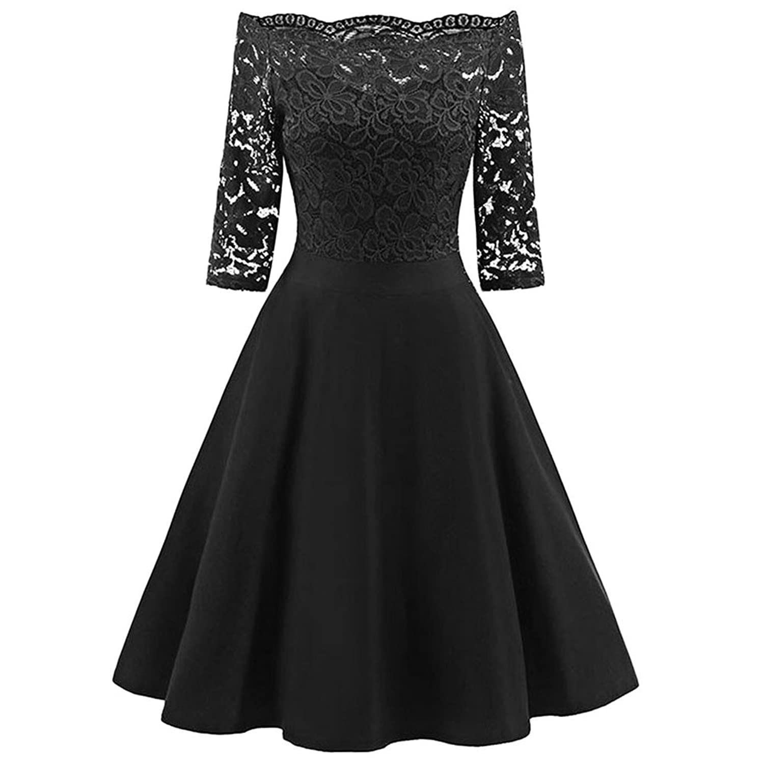 GAMISS Women's Vintage Lace Dress Floral 3/4 Sleeve Cocktail Dress (S-2XL)