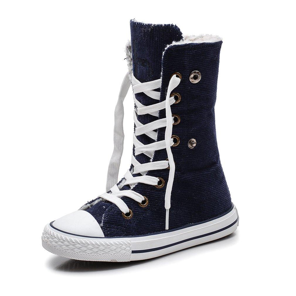 KEESKY Boys and Girls Winter Sneaker Hi-Rise Walking Shoes Deep Blue Little Kid Size 13.5