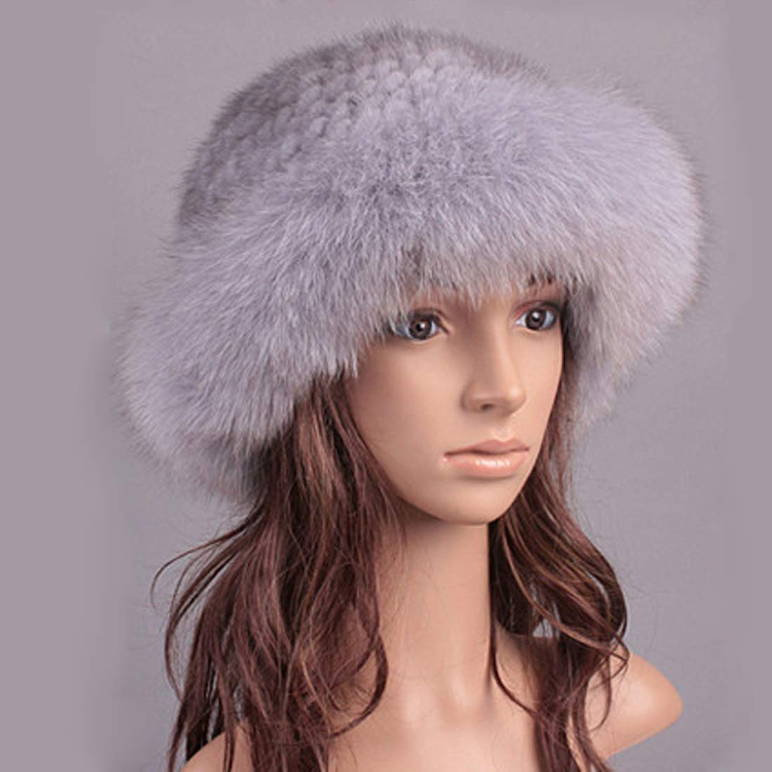 Womens Winter Hat Knitted Mink Real Fur Hats with Fox Fur Brim Elegant Hat for Women Grey by ClimbUp (Image #3)