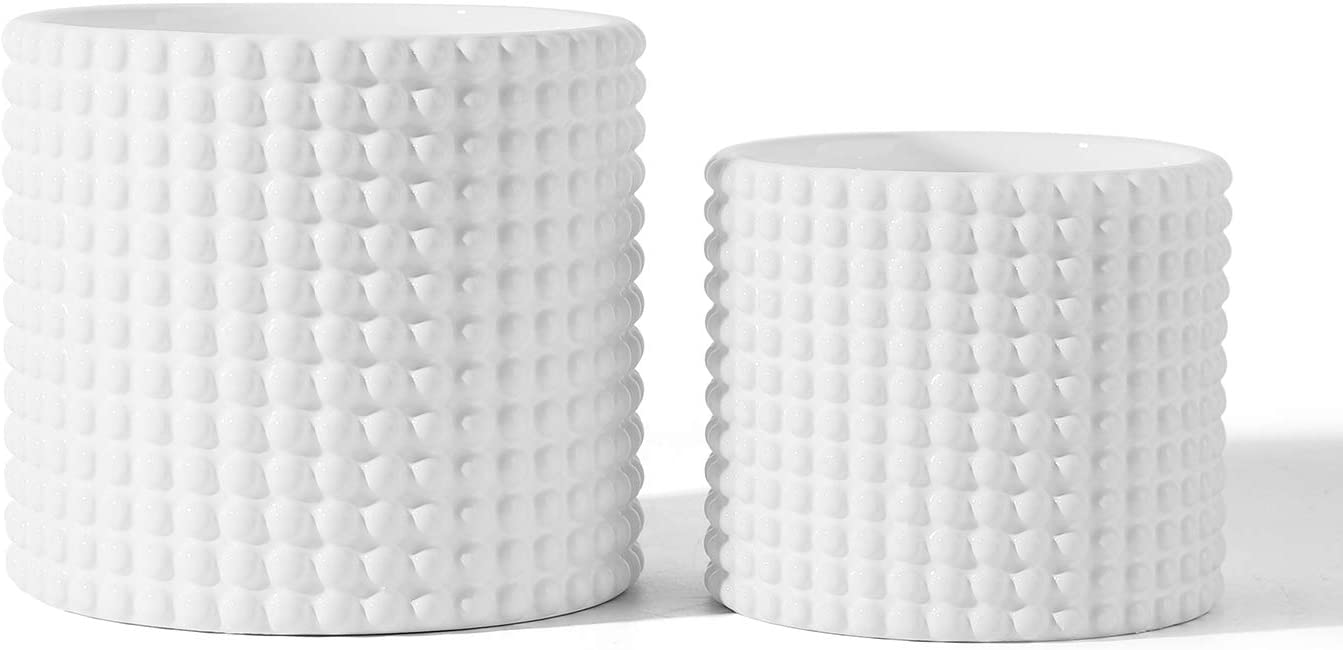 White Ceramic Vintage Style Hobnail Patterned Planter Pots - 6 and 5 Inch Containers with Watering Drain Plug for Indoor Succulent Plants or Flowers : Garden & Outdoor