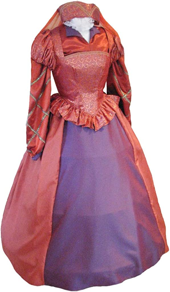 Ladies Red Baroque Queen of Hearts Wig Fancy Dres Elizabethan Royal Tudor French