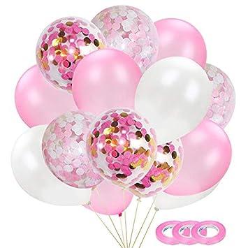 Amazon.com: Juego de globos de látex rosa de 11.8 in, 60 ...
