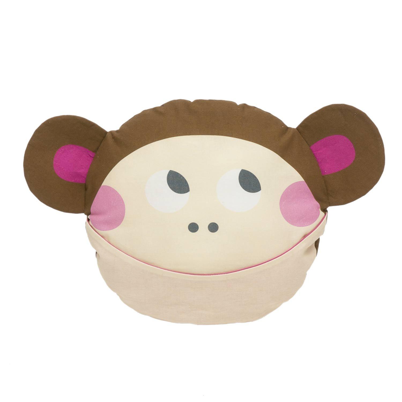 Julica Design Kuschelkissen für Kinder | Affe in Braun | Dekokissen Kinderzimmer | Schmusekissen mit Tasche im Maul JulicaDesign