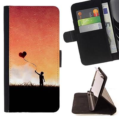 FJCases Amor Corazón Estampado Carcasa Funda Billetera con Ranuras para Tarjetas y Soporte Plegable para Sony Xperia XZ Premium