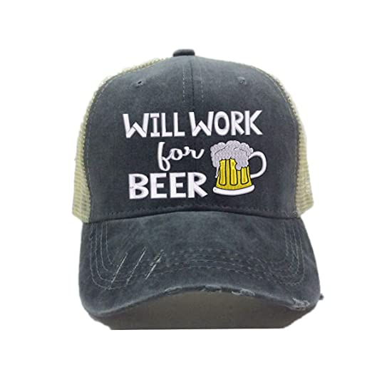 Custom Distressed Trucker Hat quot Will Work For Beer quot  Funny Party  Drinking Baseball Cap Dad 9258be3622a