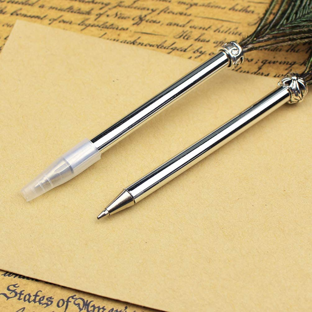 NUOBESTY 2pcs Feather Ballpoint Pens Peacock Feather Pens Novelty Writing Pens for School Office Home Black