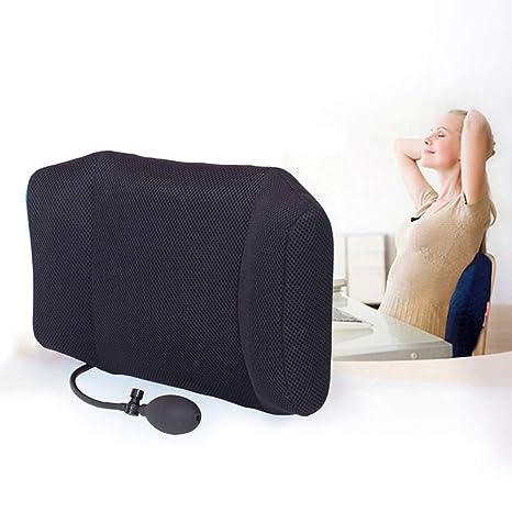 PBFONE - Cojín hinchable lumbar de apoyo para viajes, oficina, coche, acampada, alivio del dolor de espalda