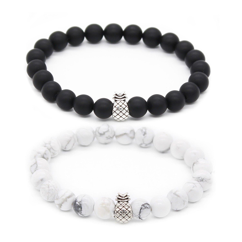 POSHFEEL Pineapple Charm Bracelets for Lovers Couple Black Matte Agate & White Howlite 8mm Beads Bracelet, 7.6''+7.2'' Black&White