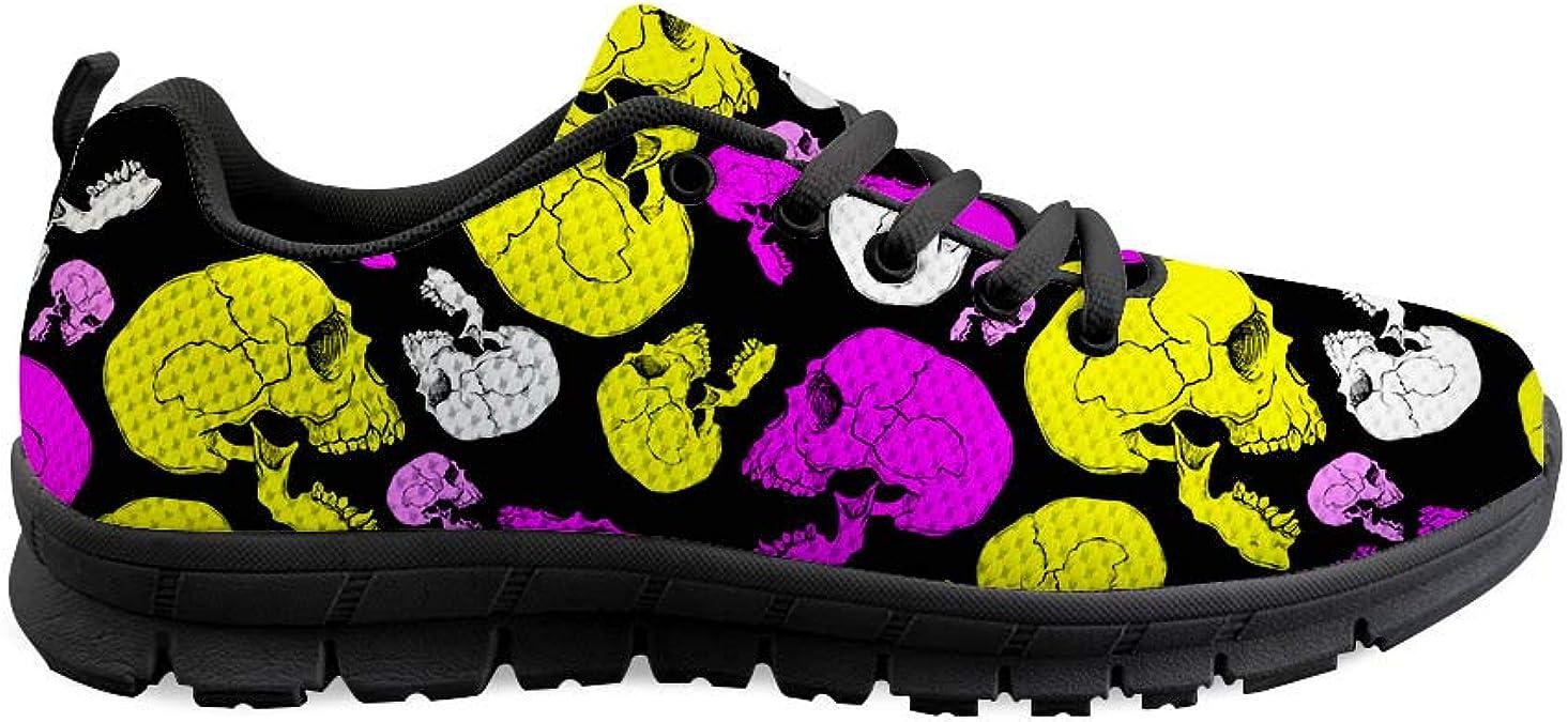 Gopumchy - Zapatillas de Running para Mujer, con cráneo de Anime, Negro, Suela Negra, Transpirables, cómodas, para el Tiempo Libre, Correr, Fitness, Gimnasio, Compras, etc.: Amazon.es: Zapatos y complementos