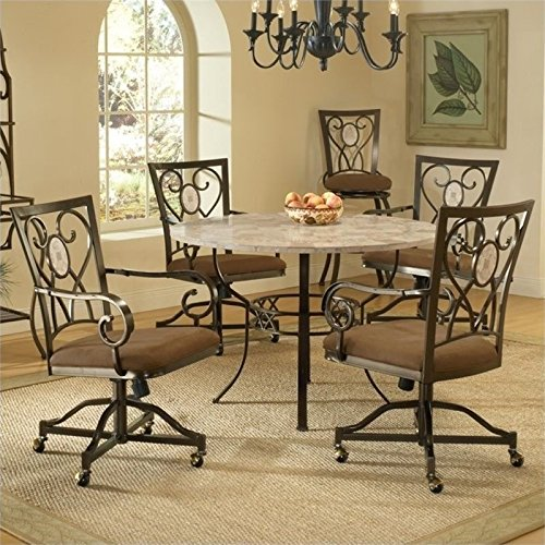 Bowery Hill 5 Piece Round Dining Set in Brown
