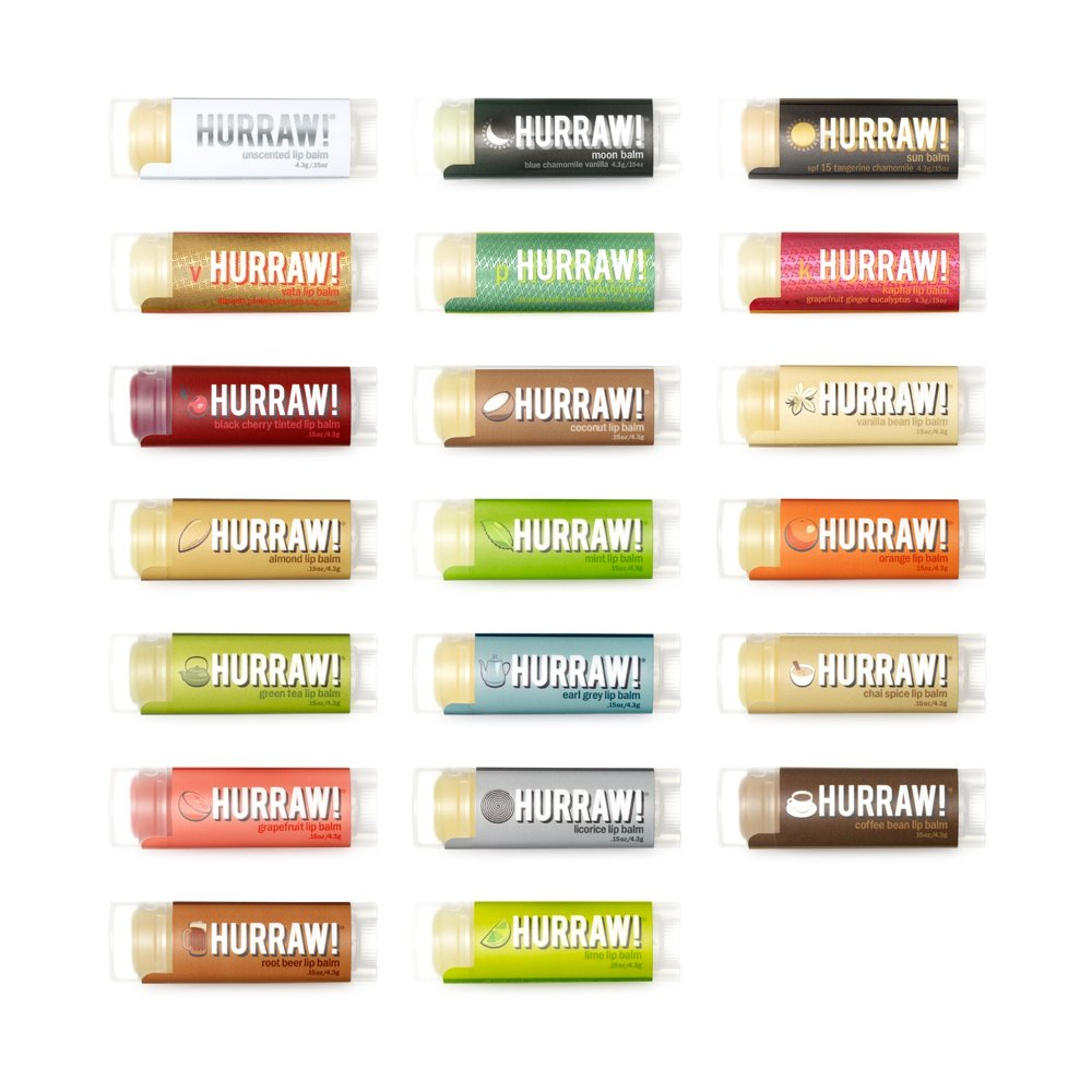 HURRAW! Lip Balms: 5 Pack – Buyers Choice, Pick Any 5 (Contact Seller and Pick 5 Flavors, 25 Flavors to Choose from)