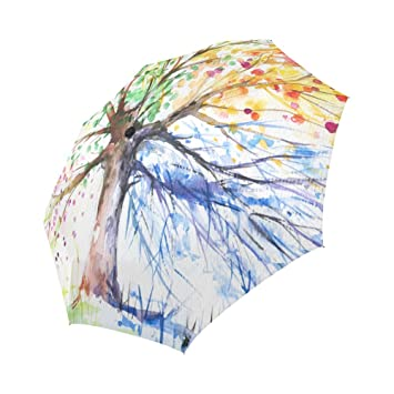d49d06c849 InterestPrint Abstract Fours Seasons Tree of Life Painting Windproof  Compact One Hand Auto Open and Close Folding Umbrella, Rain & Outdoor  Unbreakable ...