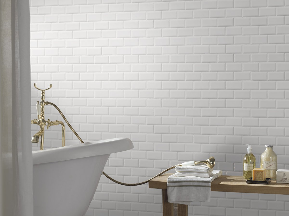 White Tile Ceramic Subway Brick Gloss Finish 2\
