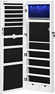 """SONGMICS 6 LEDs Mirror Jewelry Cabinet, 47.3""""H Lockable Wall/Door Mounted Jewelry Armoire Organizer with Mirror, 2 Drawers, Pure White UJJC93W"""