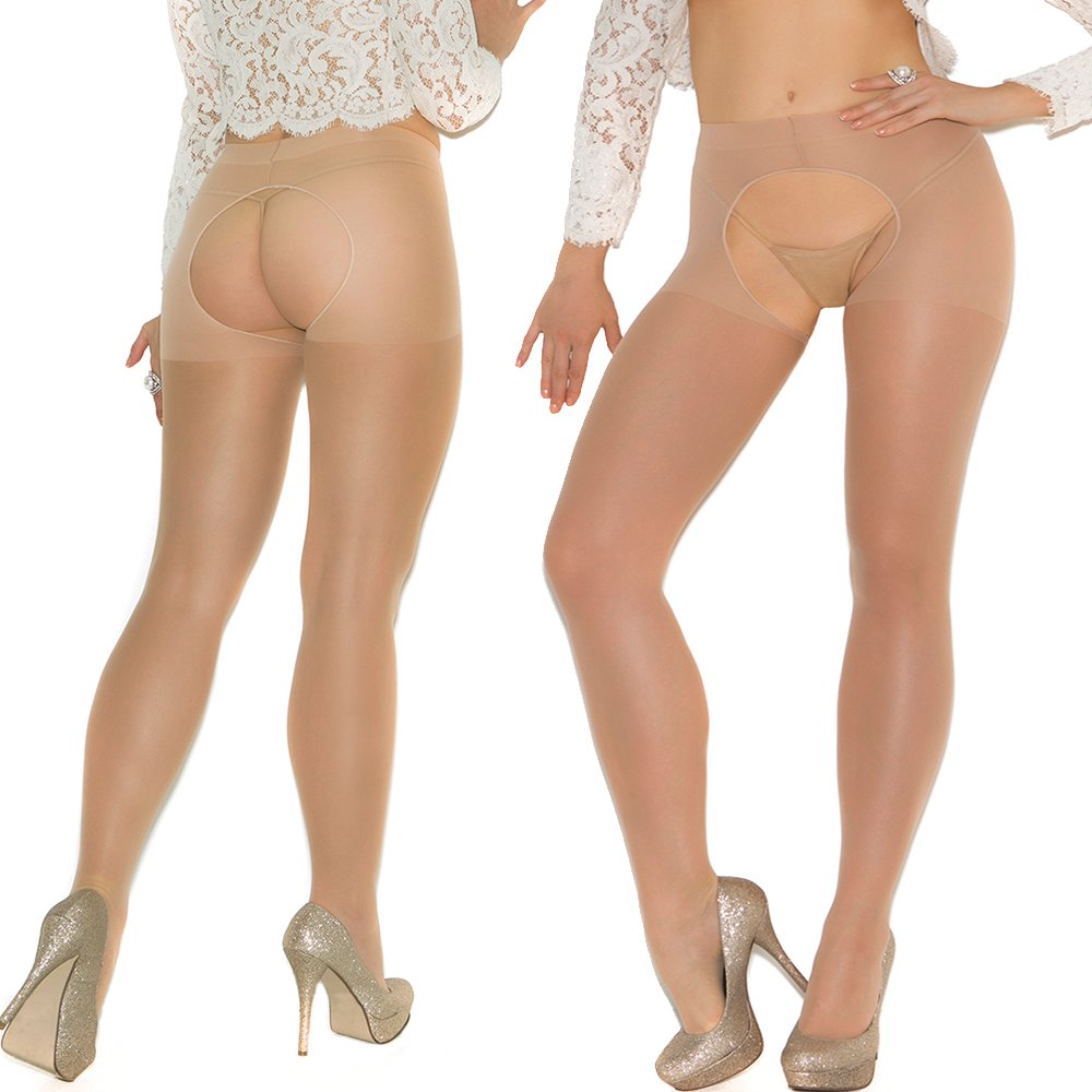 Lot of 2 sheer plus size crotchless pantyhose Open-crotch Open Crotch
