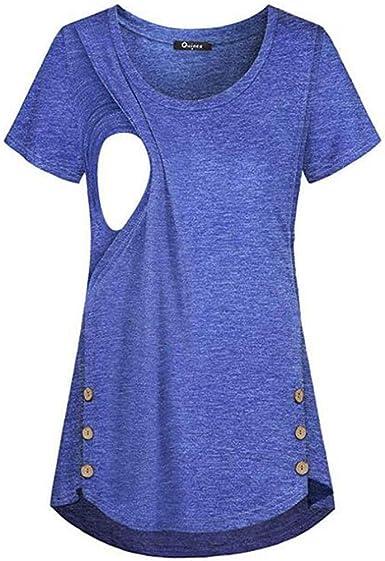 STRIR Mujer Premama Camisetas Top Diseño de Capa T-Shirt Premamá Lactancia Manga Corta Lactancia Maternidad Enfermeria Camisas: Amazon.es: Ropa y accesorios