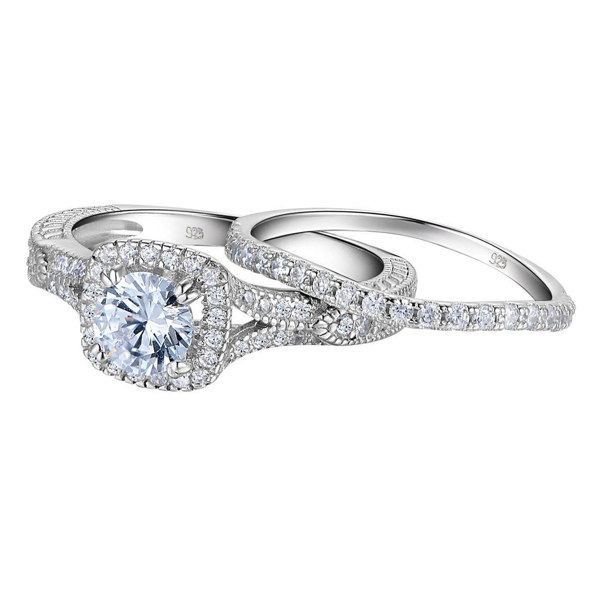 Newshe Vintage Wedding Engagement Ring Set For Women 925 Sterling Silver 1.4ct White AAA Cz Size 7
