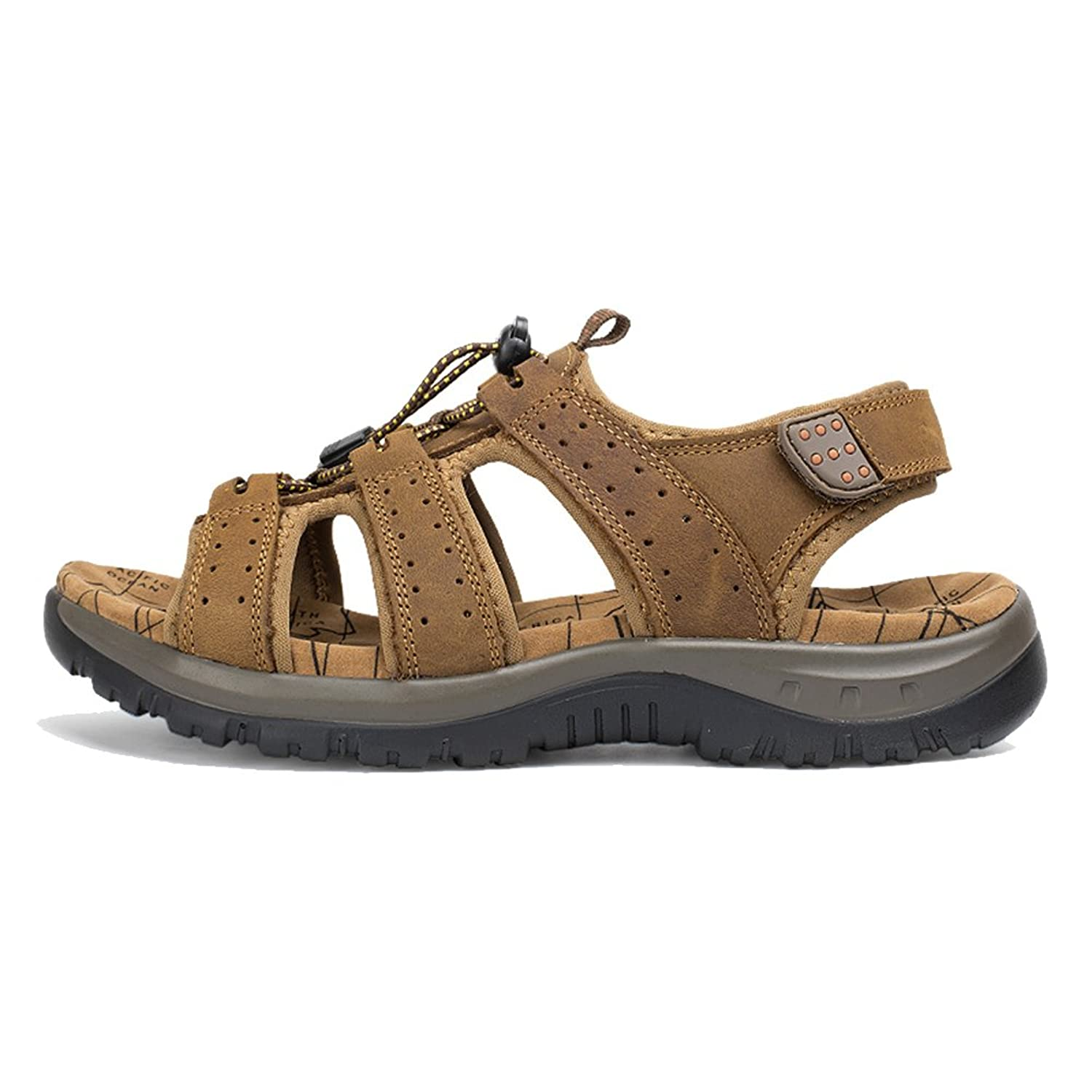 Agowoo Women's Lace Up Hook and Loop Beach Hiking Sandals