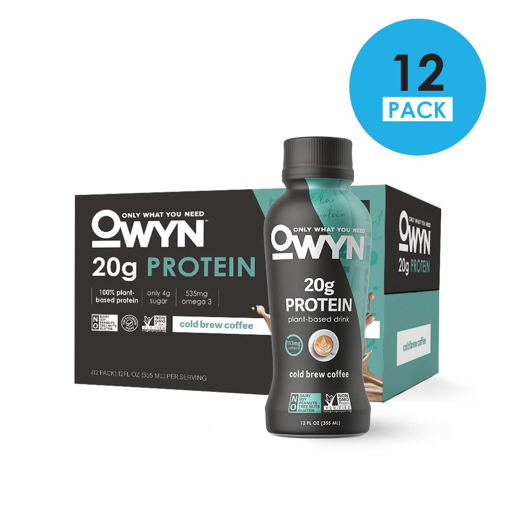 OWYN, Vegan Protein Shake, Cold Brew Coffee,12 Fl Oz (Pack of 12), 100-Percent Plant-Based, Dairy-Free, Gluten-Free, Soy-Free, Tree Nut-Free, Egg-Free, Allergy-Free, Vegetarian, Kosher by OWYN Only What You Need