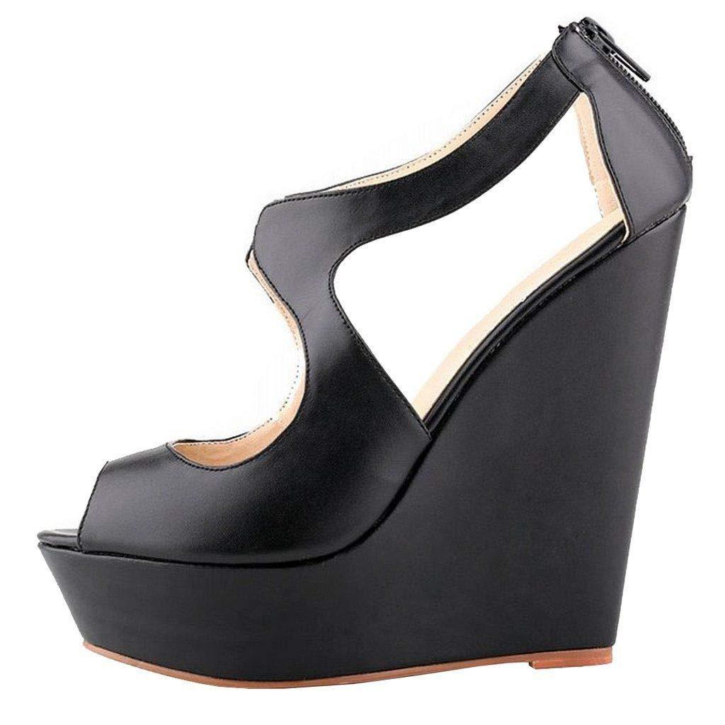 Black Matte Heels Addict's Women's shoes Peep-Toe Wedge Zip Heeled Platform Sandals