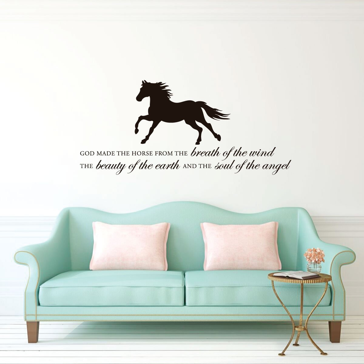 """Horse Vinyl Wall Decal """"God Made the Horse"""" With Silhouette Image Home Decor for Living Room, Tack Room, or Barn"""