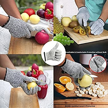Iktu 1 Pair Cut Resistant Gloves, High Performance Level 5 Protection, Food Grade Kitchen Glove for Hand Safety while Cutting, Cooking, doing Yard Work (Free Size) 10