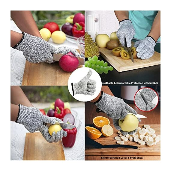 Iktu 1 Pair Cut Resistant Gloves, High Performance Level 5 Protection, Food Grade Kitchen Glove for Hand Safety while Cutting, Cooking, doing Yard Work (Free Size) 3