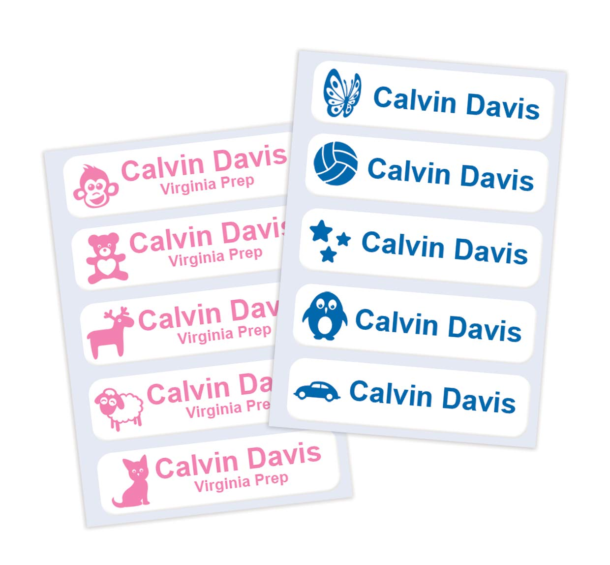 Iron on or Sew in Name Labels for School Items - Personalised with Name & Contact Info, Printed Tags for Uniforms Clothing Items, No More Lost Property, Save Money & Time (25)