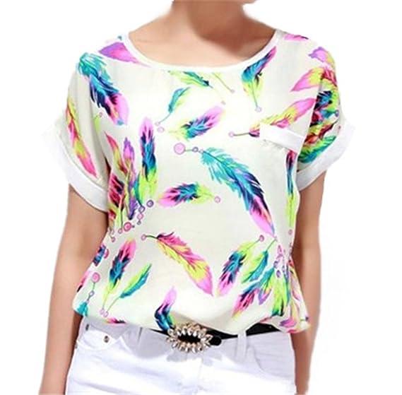 AILIENT Mujeres Bonitas Camisetas Manga Corta Tshirts Pluma Impresas Blusas Camisas Clasicos Blusas Túnica EN Gasa Cuello Redondo Encantador: Amazon.es: ...