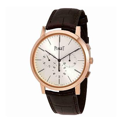Piaget Altiplano Plata Dial 18 K rose oro cuero Mens Reloj goa40030: Amazon.es: Relojes