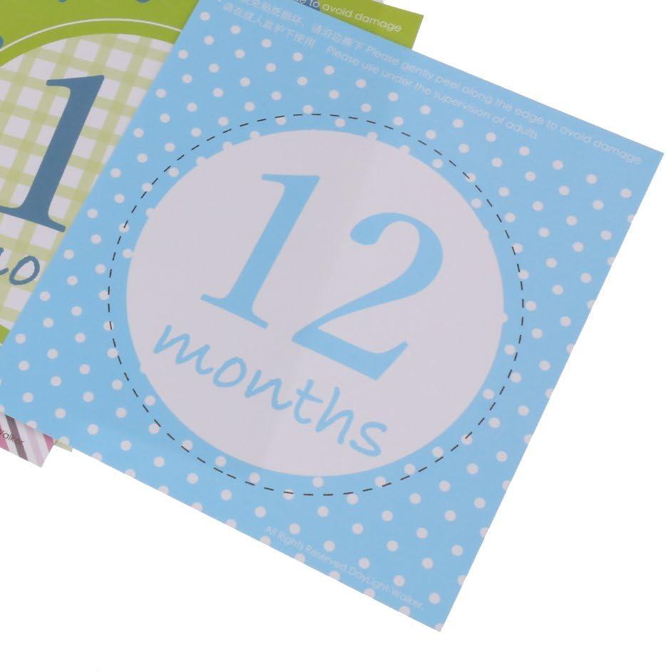 12pcs Azul Set Mensual Pegatinas de Beb/é Accesorio para Recordar Crecimiento de Ni/ños Desde 1 Hasta 12 Meses Apoyo de Fotograf/ía