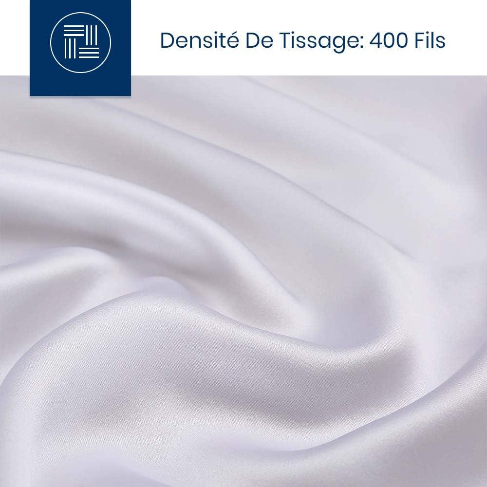 LilySilk Taie doreiller en Soie Naturelle 19 Momme Soins Cheveux Fermeture Eclair Invisible 40x60cm Blanc