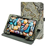 """RCA 10 Viking Pro 10.1 Rotating Case,Mama Mouth 360 Degree Rotary Stand With Cute Lovely Pattern Cover For 10.1"""" RCA 10 Viking Pro Tablet,Map White"""