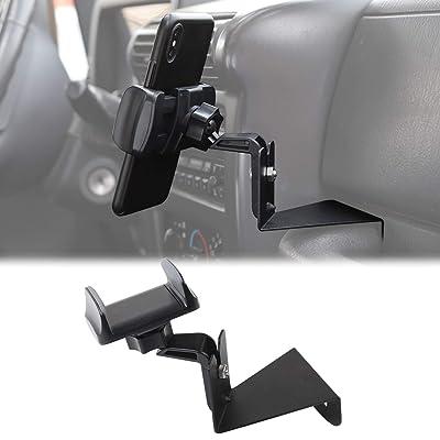 JeCar Multi-Functional Phone Holder, Radio Holder Walkie Talkie Mount Bracket for Jeep Wrangler, 2 in 1 Bolt-on Stand Bracket for 1997-2006 Jeep Wrangler TJ, Black: Automotive