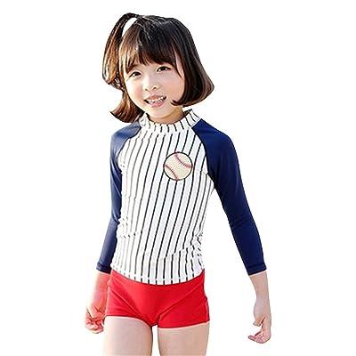 2 Piece Kids Girls Stripes Long Sleeve Sun Protection Swimsuits Set