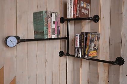 Iron Retro Bookcase LOFT Solid Bookshelf Shelf Wall Mount Display Flower Stand