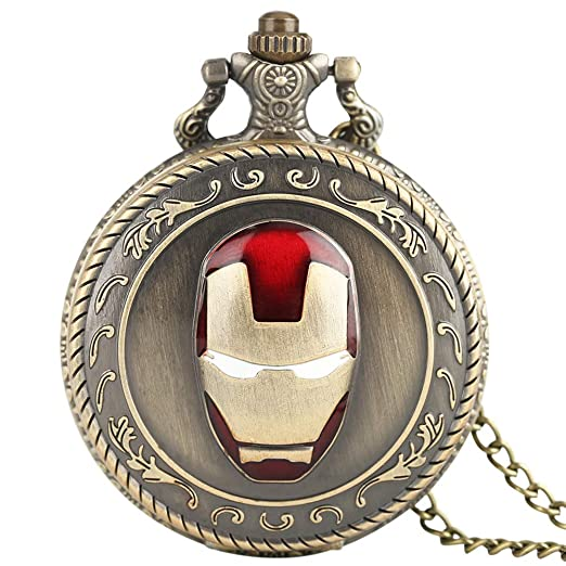 Reloj de Bolsillo para Hombre Iron Man, Reloj de Bolsillo de Cuarzo, Cadena de Relojes Modernos, Reloj analógico, Regalo para Hombres: Amazon.es: Relojes