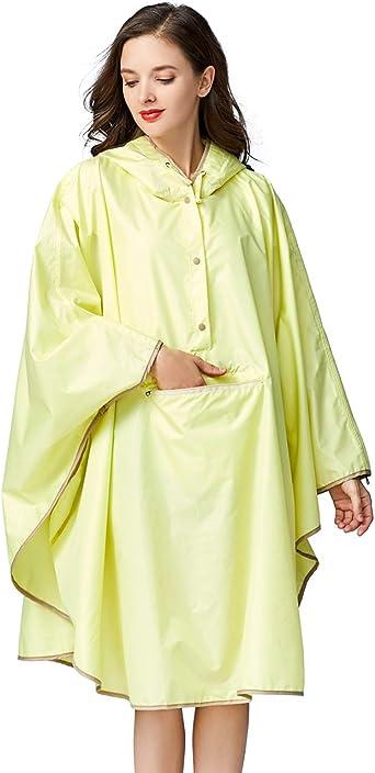 Adult 100/% Waterproof Green Poncho Hooded Reusable Unisex Raincoat Ladies Mens