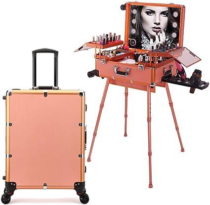 Estuche de tocador de maquillaje de peluquería 4 en 1 con altavoz Bluetooth Pantalla táctil Espejo iluminado Mesa de tren portátil Estación de maquillaje Vanity Cosmetic Trolley,Oro: Amazon.es: Belleza